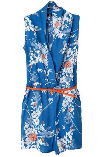 Oasap Beauteous Faux Wrap Floral Rompers