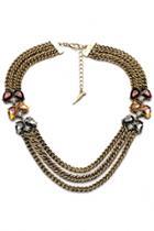 Oasap Vintage Brass Multi-strand Faux Stone Necklace