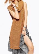 Oasap Turtleneck Side Slit Knit Sweater