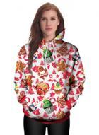 Oasap Casual Long Sleeve Floral Printed Hoodie
