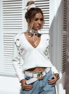 Oasap V Neck Long Sleeve Solid Color Lace-up Sweater