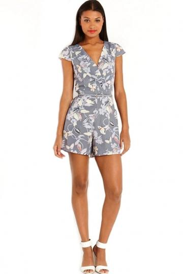 Oasap Grey Floral Rompers