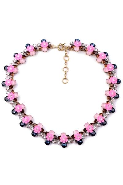 Oasap Pink Flower Rhinestone Necklace