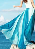 Oasap Bohemian Color Block Chiffon Maxi Skirt