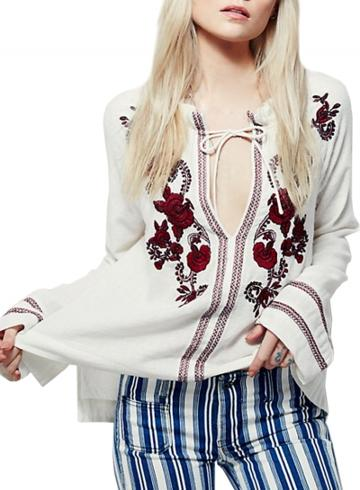 Oasap Women's Casual Spring Long Sleeve Floral Embroidery Blouse