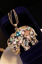 Oasap Rhinestone Embellished Elephant Necklace
