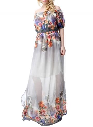 Oasap Women's Floral Print Off Shoulder Elastic Waist Chiffon Dress