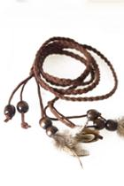 Oasap Bead And Feather Pendant Knitting Band Necklace
