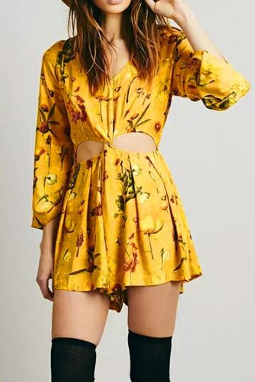 Oasap Boho Inspired Yellow Floral Rompers