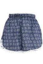 Oasap Summer Floral Print Pom Trim Shorts