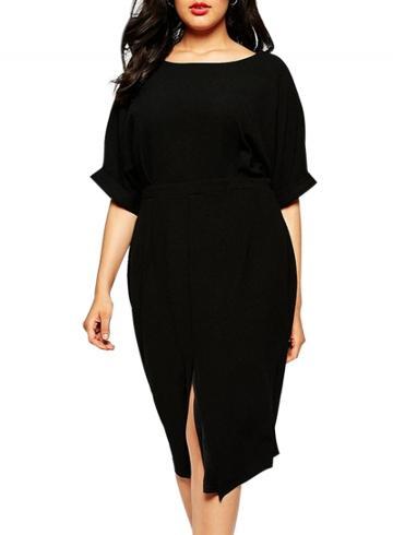 Oasap Women's Fashion Black Front Slit Plus Size Dress