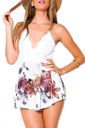 Oasap Lace Top Floral Print Cami Rompers