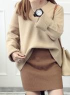 Oasap Fashion V Neck Long Sleeve Loose Fit Pullover Sweater