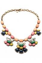 Oasap Pink Vintage Scalloped Pendant Bib Necklace