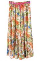 Oasap Floral Print Chiffon Maxi Skirt
