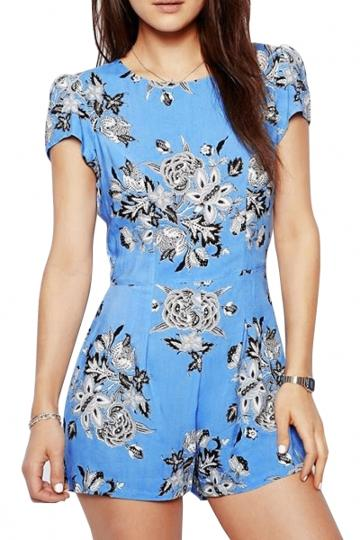 Oasap Light Blue Floral Rompers