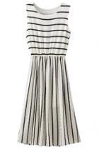 Oasap Chic Striped Sleeveless Midi Dress