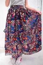 Oasap Floral Print Ankle Length Chiffon Skirt