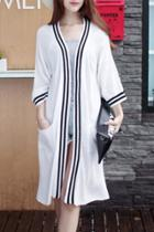 Oasap Striped Trim Long Knit Cardigan