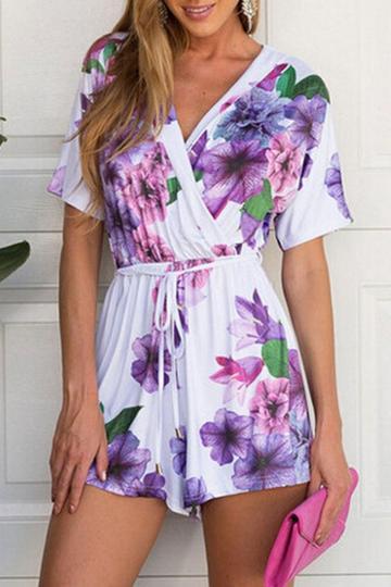 Oasap Fancy Violet Floral Print Surplice Rompers