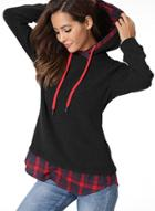 Oasap Casual Long Sleeve Plaid Pullover Hoodie
