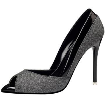 Oasap Peep Toe Sequins Stiletto Heels Slip On Pumps