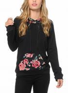 Oasap Long Sleeve Floral Printed Pullover Hoodie