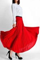 Oasap Thickened Calf Length Pleated Chiffon Skirt