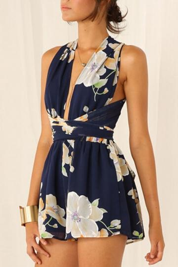 Oasap Navy Floral Crossover Rompers