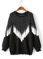 Oasap Round Neck Color Block Fringe Pullover Sweater
