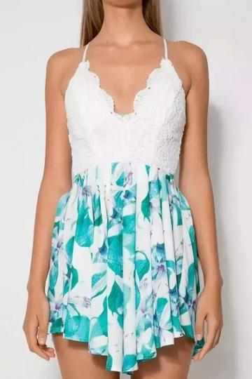 Oasap Blue Floral Print Lace Top Beach Rompers