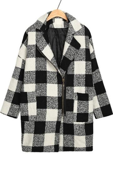 Oasap Notched Collar Plaid Coat