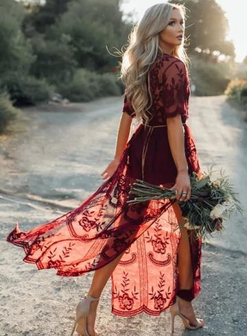 Oasap Deep V Neck Short Sleeve High Waist Lace Prom Dress