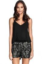 Oasap Cool Sequined Black Shorts