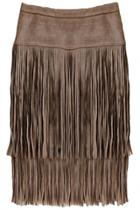 Oasap Chic Layered Fringed Faux Suede Skirt