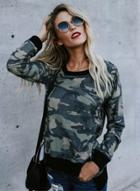 Oasap Fashion Long Sleeve Camo Printed Pullover Tee
