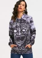Oasap Long Sleeve Halloween Skull Printed Hoodie