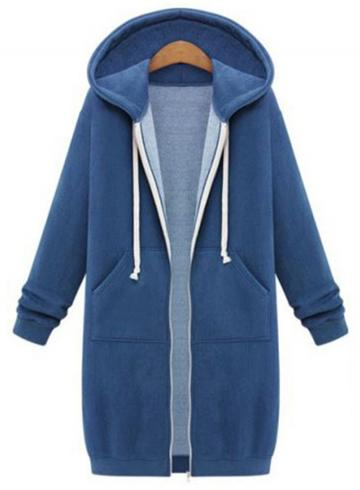 Oasap Wool Long Sleeve Hooded Coats