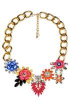 Oasap Nice Beaded Floral Bib Necklace