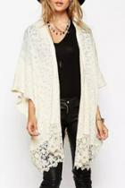 Oasap Casual Crochet Batwing Sleeve Cardigan