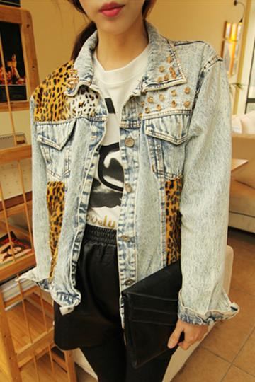 Oasap Riveted Leopard Denim Jacket