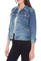 Oasap Vintage Turn Down Collar Wash Denim Jacket