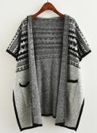 Oasap Hooded Open Front Short Sleeve Patterned Cloak Cardigan