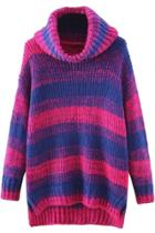 Oasap Gradient Ramp Turtleneck Side Slit High-low Knit Sweater