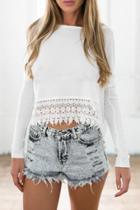 Oasap Chic Crochet Lace Hem Blouse