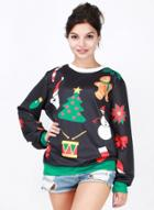 Oasap Christmas Printed Loose Fit Pullover Sweatshirt