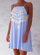 Oasap Spaghetti Strap Loose Fit Mini Dress With Tassel