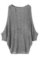 Oasap Slouchy Bat Sleeved Hollow Out Sweater