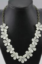 Oasap Sweet White Camellia Necklace