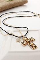 Oasap Cross Pendant Double Chain Necklace